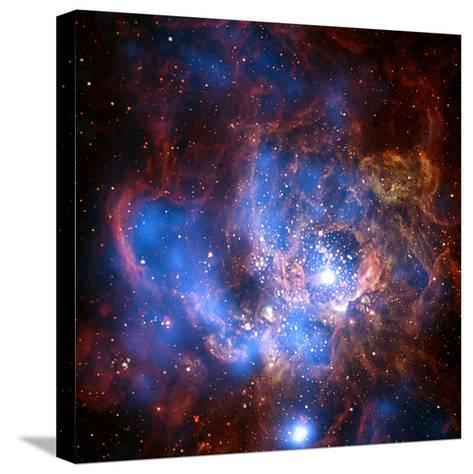Composite Image from Chandra and Hubble Data, Divided Neighborhood of Some 200 Hot, Young Stars--Stretched Canvas Print