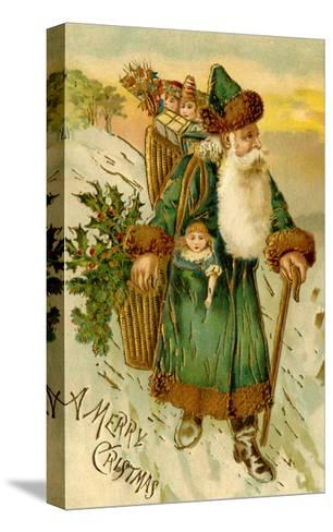 Father Christmas Dressed in Green Carrying Baskets of Toys and Holly, Beatrice Litzinger Collection--Stretched Canvas Print