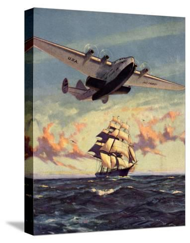 Painting og a Plane Flying near a Ship--Stretched Canvas Print