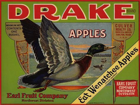 Fruit Crate Labels: Drake Brand Apples; Earl Fruit Company--Stretched Canvas Print