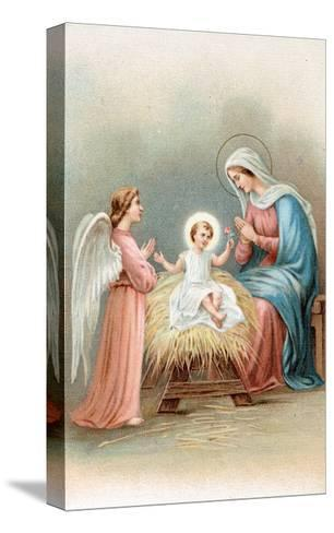 Greeting Cards, Holiday Madonna and Child with Angel--Stretched Canvas Print