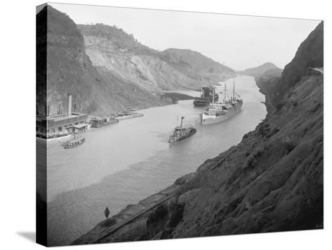 Boats Move Through Panama Canal at the Culebra Cut, Ca. 1915--Stretched Canvas Print