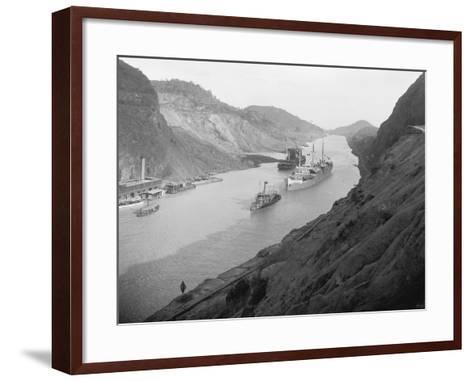 Boats Move Through Panama Canal at the Culebra Cut, Ca. 1915--Framed Art Print