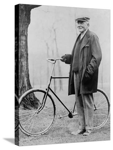 John D. Rockefeller 1939-1937 with His Bicycle after His Retirement, 1913--Stretched Canvas Print