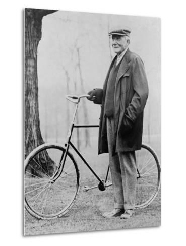 John D. Rockefeller 1939-1937 with His Bicycle after His Retirement, 1913--Metal Print