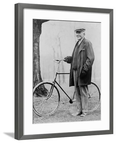 John D. Rockefeller 1939-1937 with His Bicycle after His Retirement, 1913--Framed Art Print