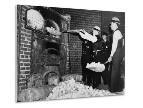 Federal Bureau of Narcotics Agents Shovel Confiscated Heroin Blocks into Incinerator in 1936--Metal Print
