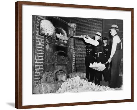 Federal Bureau of Narcotics Agents Shovel Confiscated Heroin Blocks into Incinerator in 1936--Framed Art Print