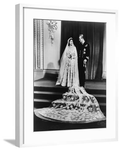Princess Elizabeth and Prince Philip in a Full-Length Wedding Portrait, 1947--Framed Art Print
