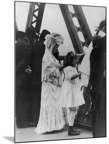 Jews Praying on the Williamsburg Bridge on Yom Kippur, Ca. 1909--Mounted Photo