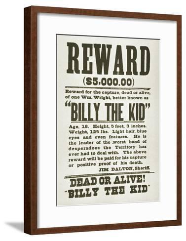 Wanted Poster for Billy the Kid Offering $5000 Dollars Reward, 1880s--Framed Art Print