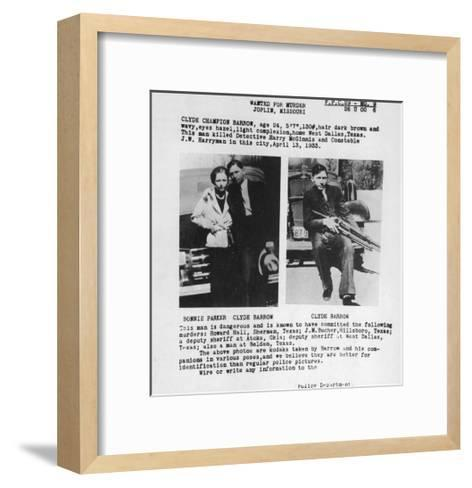 Wanted Poster for Bonnie and Clyde. 1933--Framed Art Print