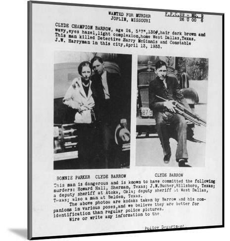 Wanted Poster for Bonnie and Clyde. 1933--Mounted Photo