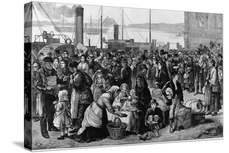 Emigrants Leaving Queenstown, Ireland, for New York, 1874--Stretched Canvas Print