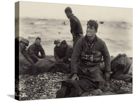 WW2 American Soldiers on Omaha Beach Recovering the Dead after the D-Day, 1944--Stretched Canvas Print