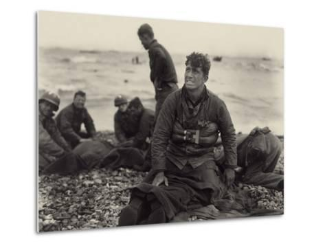 WW2 American Soldiers on Omaha Beach Recovering the Dead after the D-Day, 1944--Metal Print