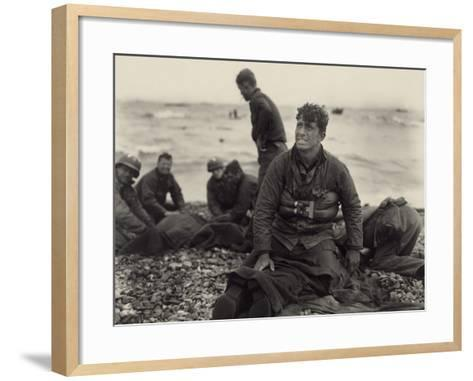 WW2 American Soldiers on Omaha Beach Recovering the Dead after the D-Day, 1944--Framed Art Print