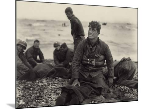 WW2 American Soldiers on Omaha Beach Recovering the Dead after the D-Day, 1944--Mounted Photo