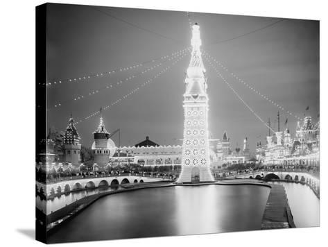 Electric Lamps Blaze on the Electric Tower at Night, Luna Park, Coney Island, 1903--Stretched Canvas Print