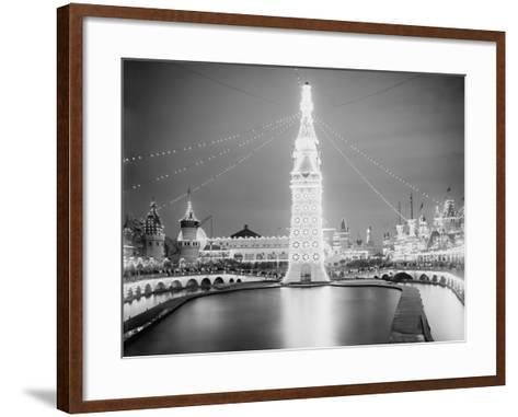 Electric Lamps Blaze on the Electric Tower at Night, Luna Park, Coney Island, 1903--Framed Art Print