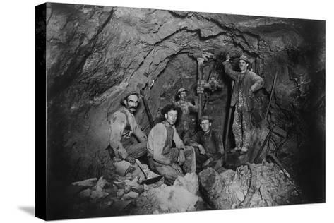 Five Miners in Last Chance Company Lead Mine, in the Coeur D'Alene Region of Idaho, Ca, 1910--Stretched Canvas Print