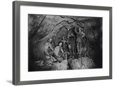 Five Miners in Last Chance Company Lead Mine, in the Coeur D'Alene Region of Idaho, Ca, 1910--Framed Art Print
