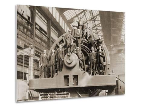 Businessmen Pose on a Giant Westinghouse Electrical Generator, 1918--Metal Print
