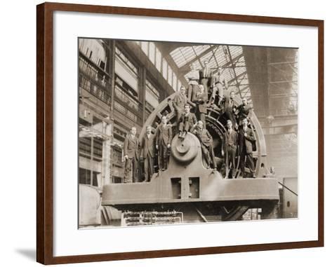 Businessmen Pose on a Giant Westinghouse Electrical Generator, 1918--Framed Art Print