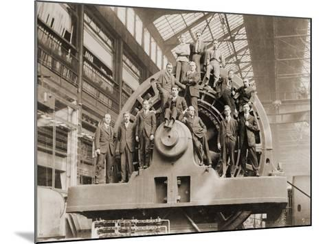 Businessmen Pose on a Giant Westinghouse Electrical Generator, 1918--Mounted Photo
