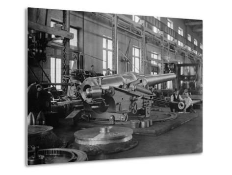 Assembled Cannon in the Foundry of the Washington Navy Yard, 1900--Metal Print