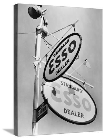 Esso Gasoline Dealer Sign on Chestnut St. in Philadelphia in 1939--Stretched Canvas Print