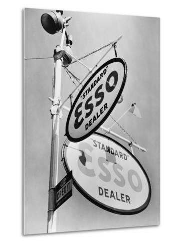 Esso Gasoline Dealer Sign on Chestnut St. in Philadelphia in 1939--Metal Print