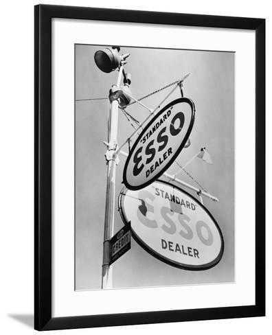 Esso Gasoline Dealer Sign on Chestnut St. in Philadelphia in 1939--Framed Art Print