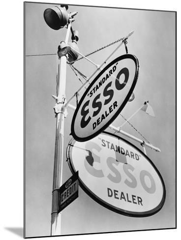 Esso Gasoline Dealer Sign on Chestnut St. in Philadelphia in 1939--Mounted Photo