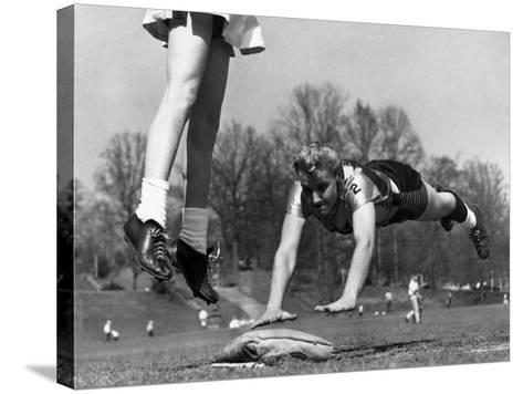 Ladies Softball Player Diving for Third Base, Atlanta, Georgia, 1955--Stretched Canvas Print