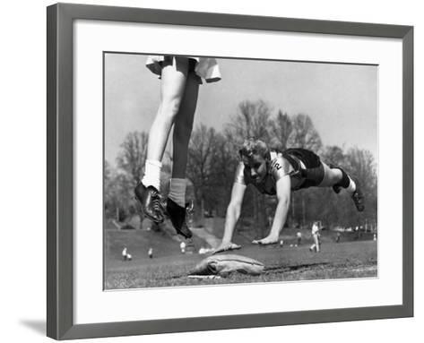 Ladies Softball Player Diving for Third Base, Atlanta, Georgia, 1955--Framed Art Print