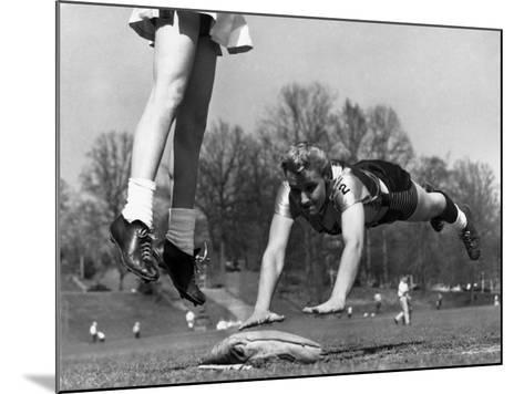 Ladies Softball Player Diving for Third Base, Atlanta, Georgia, 1955--Mounted Photo