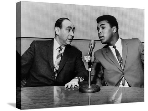 Muhammad Ali and Howard Cosell on WaBC Radio in 1965--Stretched Canvas Print