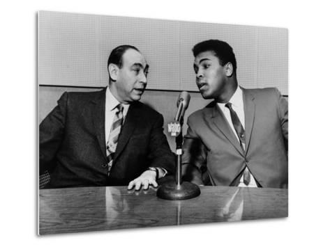 Muhammad Ali and Howard Cosell on WaBC Radio in 1965--Metal Print