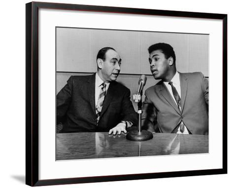 Muhammad Ali and Howard Cosell on WaBC Radio in 1965--Framed Art Print