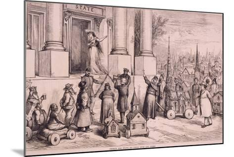 Thomas Nast Cartoon, Shows Priests Threatening the Doorway of the 'State'--Mounted Art Print