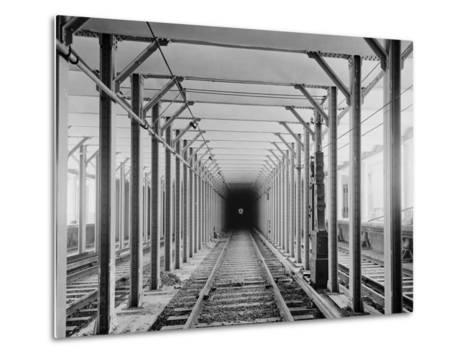 The New York City Subway Tracks at a Station with a Dark Tunnel in the Distance, 1904--Metal Print