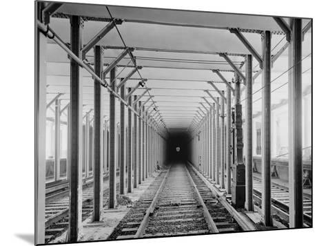The New York City Subway Tracks at a Station with a Dark Tunnel in the Distance, 1904--Mounted Photo