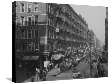 Rivington Street on New York City's Lower East Side Jewish Neighborhood in 1909--Stretched Canvas Print