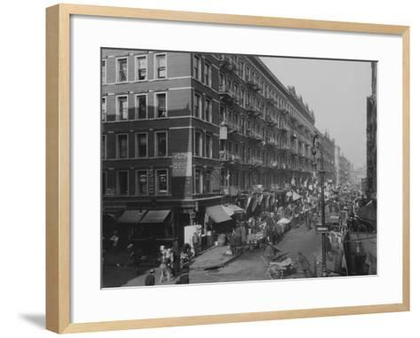 Rivington Street on New York City's Lower East Side Jewish Neighborhood in 1909--Framed Art Print