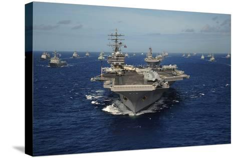Aircraft Carrier USS Ronald Reagan Leads Allied Ships on Pacific Ocean, July 2010--Stretched Canvas Print