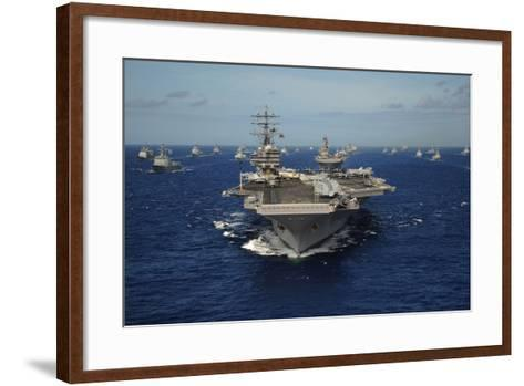 Aircraft Carrier USS Ronald Reagan Leads Allied Ships on Pacific Ocean, July 2010--Framed Art Print