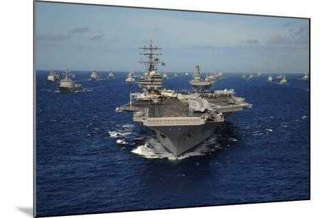 Aircraft Carrier USS Ronald Reagan Leads Allied Ships on Pacific Ocean, July 2010--Mounted Photo