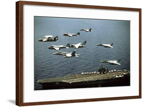 Aircraft Fly over the Nuclear-Powered Aircraft Carrier USS George Washington, 1992--Framed Art Print