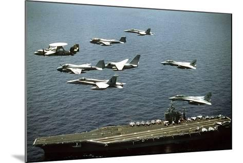 Aircraft Fly over the Nuclear-Powered Aircraft Carrier USS George Washington, 1992--Mounted Photo